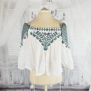 Free People Embroidered Flowy Off Shoulder Top